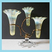 REDUCED Incredible Opalescent Uranium Glass Three Flute Antique Epergne, by Thomas Webb, Engla