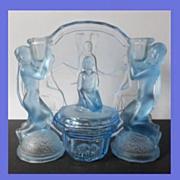 Rare Uranium Blue Glass 10 piece 1930s Art Deco Press Moulded Vanity Set / Trinket Set