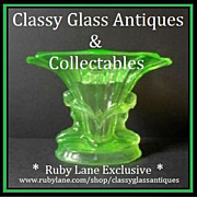 SOLD LARGE Walther & Sohne Windsor Pattern German Art Deco Uranium Green Glass Vase two piece