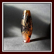 SOLD A Superb Amber Cameo Glass Vase. Signed by Zelenka Czech Republic