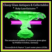 SOLD Gorgeous German 1930s Art Deco Uranium Glass Two Piece Comport by Walther & Sohne