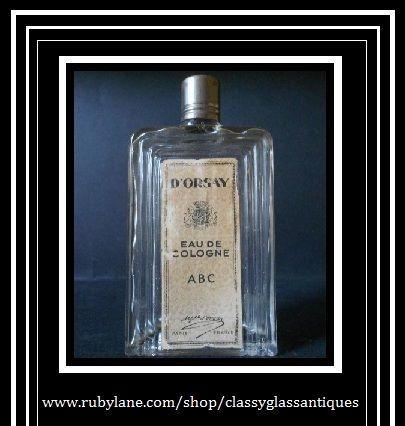 RARE Perfume Bottle by D'Orsay Paris France. ABC Eau de Cologne