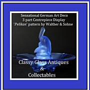 SOLD Gorgeous German Art Deco Press Moulded Glass Pelikan & Primus 3 part Center Piece Display