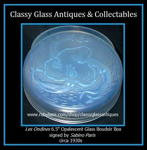Mermaids 'Les Ondines' Large Opalescent Glass Box & Cover by Sabino Paris c1928 French Art Deco
