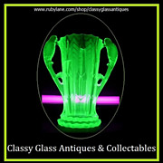 SOLD 1930s German Art Deco Uranium Glass Vase by Brockwitz.
