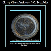 REDUCED French Art Deco Opalescent Glass Wine Coaster by Cesari - Etling