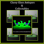 REDUCED Incredible English Art Deco Uranium Glass Trinket Vanity Set by Bagley