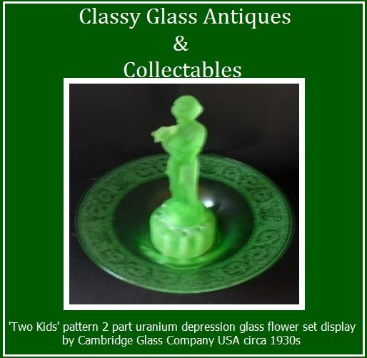 Two Kids pattern Uranium Glass Center Piece Display Set by Cambridge Glass Company USA