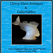 REDUCED French Opalescent Glass Perch Fish Mascot Figurine. Choisy-le-Roi circa 1930s