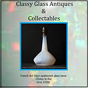 REDUCED French Choisy-le-Roi Art Deco Opalescent Glass Table Lamp Base