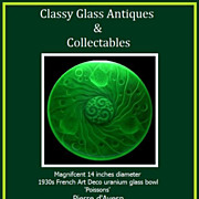 """SOLD French Art Deco uranium glass 14"""" charger bowl by Pierre d'Avesn for Verlys"""