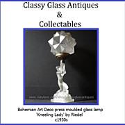 SALE PENDING COMPLETE Bohemian Art Deco Kneeling Lady glass lamp by Riedel c1930s
