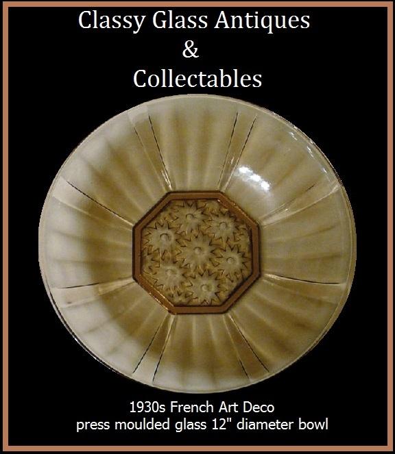 French Art Deco Smoky Amber Glass Bowl c1930s