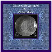 Bohemian 1930s Art Deco press moulded glass bowl - Sea Stars pattern by Barolac
