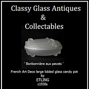 French Art Deco lidded Glass Powder Pot by Etling c1930s
