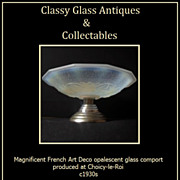SOLD Fab 1930s French Art Deco Opalescent Glass & Chrome Metal Comport - Choisy-Le-Roi