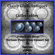 SOLD Stunning. Sevres France 13 piece Blue Crystal Serving Set - 1930s Art Deco.