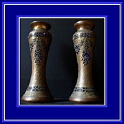 SALE PAIR of Exceptionally Rare Bronze & Gilded Cobalt Glass Vases by Leon Ledru. Val St Lambe