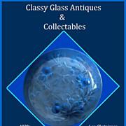 SOLD 'Les Chataignes' Directoire Blue Glass Art Deco Bowl by Verlys