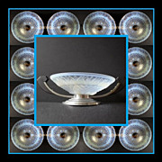 REDUCED Gorgeous French  Art Deco Choisy-le-Roi Opalescent Glass Comport with Chrome & Rosewoo