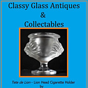 Lalique Lion Head Crystal Glass Cigarette Holder - Tete de Lion