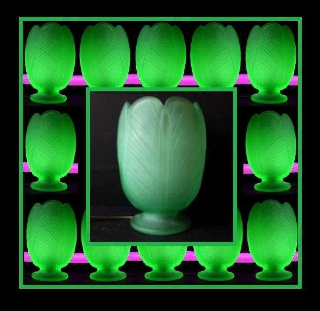 1930s English Art Deco press molded URANIUM glass lamp by Bagley – Tulip pattern No.3025
