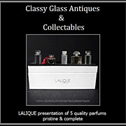 SOLD LALIQUE 5 Bottle Presentation of French Perfumes - Mint Pristine & Complete
