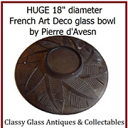 "SOLD SALE PRICE Phenomenal 18"" diameter 1930s French Art Deco Glass Bowl 'feuilles de palm"