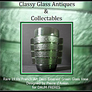 REDUCED Daum Freres - Pierre d'Avesn 1930s French Art Deco Glass Vase
