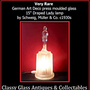 "Very Rare German Art Deco Glass 15"" Lady Lamp by Schweig, Muller & Co."