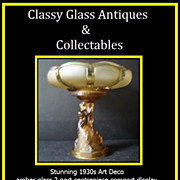 Stunning Art Deco 2 Part Amber Glass Comport Centerpiece Display c1930