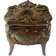 REDUCED Jennings Art Nouveau Jewelry Casket Trinket Box French Gray