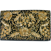 REDUCED Zardozi Bullion Embroidered Evening Bag Purse Floral Vintage India