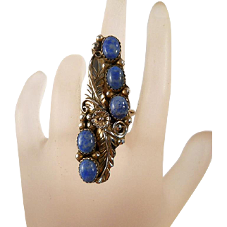 SALE Sterling Denim Lapis Cactus Flower Ring Vintage Navajo Size 8