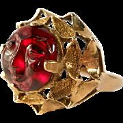 SALE 14K Gold Garnet Sun Man Ring Hand Carved Vintage Italy Size 8