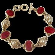 SALE Sterling Opaque Ruby Cultured Pearl Bracelet Vintage 1990s Glamour
