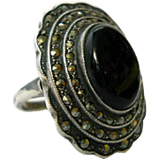 REDUCED Uncas Sterling Onyx Marcasite Ring Cocktail Art Deco Size 7