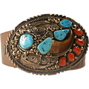 SOLD Turquoise Coral Bear Claw Buckle Belt Sterling Navajo Vintage