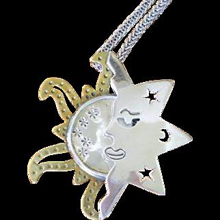 SALE Sterling Sun Moon Celestial Pendant Brooch Vintage Taxco Laton