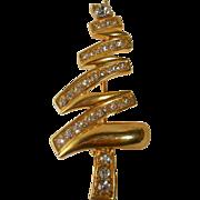 REDUCED Vintage Monet Christmas Tree Figural Brooch Zig Zag Modernist Pin