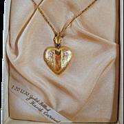 SALE Vintage Gold Filled Heart Locket Necklace Original Box