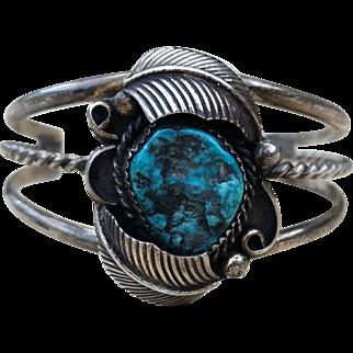 SALE Navajo Sterling Turquoise Feather Cuff Bracelet Vintage L Spencer