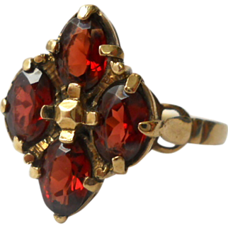 SALE Birmingham 9K Gold Garnet Lozenge Ring Size 7 Vintage England