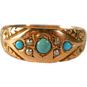 SOLD Antique 9K Gold Turquoise Pearl Ring Late Victorian Size 8
