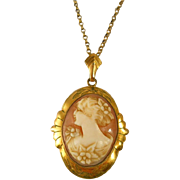 SALE Victorian Shell Cameo Gold Filled Pendant Chain Antique PS Co