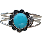 SALE Vintage Turquoise Flower Sterling Cuff Bracelet Native American