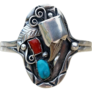SALE Navajo Sterling Bear Claw Cuff Bracelet Turquoise Coral Vintage