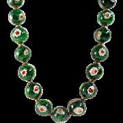 SALE Italian Millefiori Green Glass Bead Necklace Vintage Art Glass