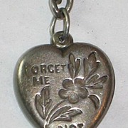 """Sterling Silver Puffy Heart Charm """"Forget Me Not"""" Engraved 'H.G.M.'"""
