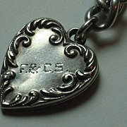 Large Sterling Silver Repousse Puffy Heart Charm Engraved 'F.& C.S.'